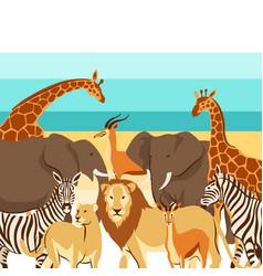 background with african savanna animals vector image
