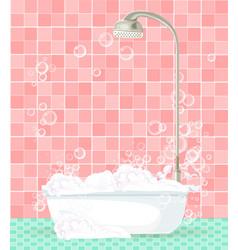 bathroom interior with bathtub full of foam on vector image