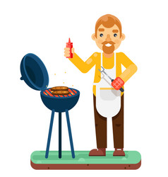 Bbq man cook meat barbecue isolated flat design vector