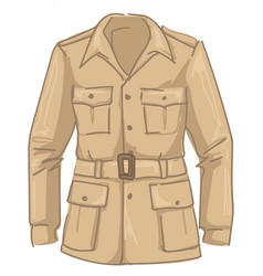 Beige jacket with belts and pockets for men vector
