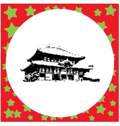 black 8-bit todaiji temple isolated vector image