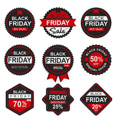 black friday sale discount seal and labels vector image