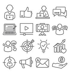 blogger line icons set on white background vector image