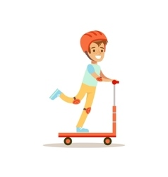 Boy In Helmet Riding Scooter Traditional Male Kid vector