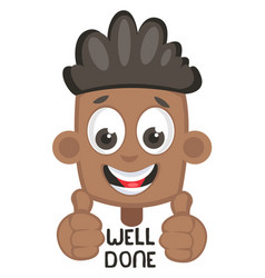Boy showing well done sign on white background vector