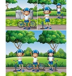 Boys and girls riding bike in garden vector image