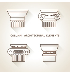 Brown linear icons Columns Flat with long shadows vector image