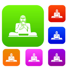Buddha statue set collection vector