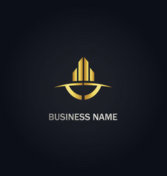 building business abstract company gold logo vector image