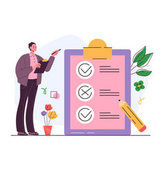 business man character successful task checklist vector image