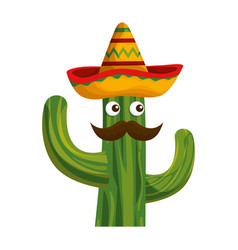 Cactus with mexican hat and mustache character vector