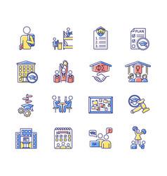 Campus life rgb color icons set vector