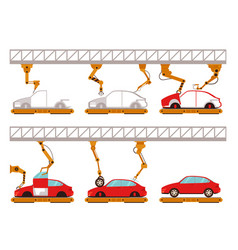 car assembly line with robot arms vector image