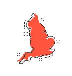 Cartoon england map icon in comic style england vector