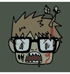 Cartoon funny hipster zombie head mascot icon vector image