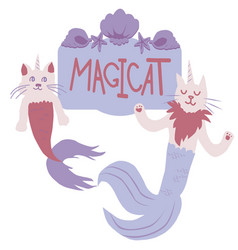 cats mermaid vector image