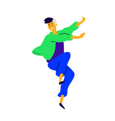 cheerful positive guy a dancing young man vector image