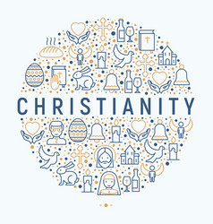 christianity concept in circle vector image