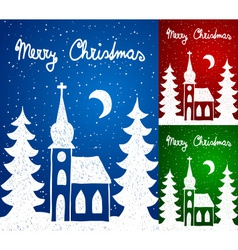 Christmas church and trees hand - drawn style vector image