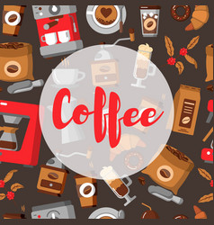 Coffee seamless pattern drink decorative icons vector