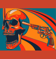 Colored danger skull with revolver vector