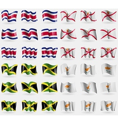 Costa Rica Jersey Jamaica Cyprus Set of 36 flags vector