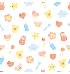 cute baby elements seamless pattern vector image