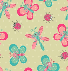 Cute bugs background vector