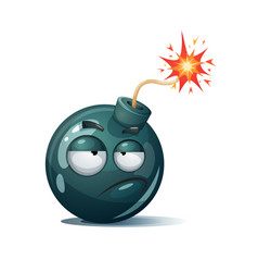 Cute funny crazy - cartoon bomb character vector