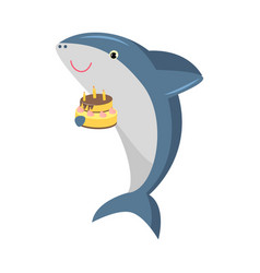 Cute shark holding a cake with candles vector