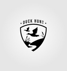 duck hunt logo shield emblem template design vector image