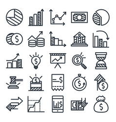 Economy and finance line style icon set vector