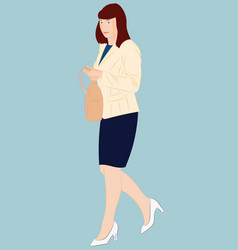 fashionable city woman holding handbag in her arm vector image