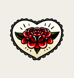 Flower in heart tattoo in vintage style retro vector