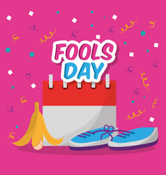 Fools dar card invitation prank shoe banan peel vector