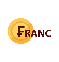 franc and golden coin with symbol currency vector image