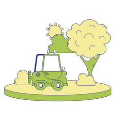 full color agrimotor car in the city with tree and vector image