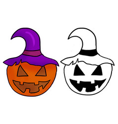Funny hand drawn halloween pumpkin witch hat vector