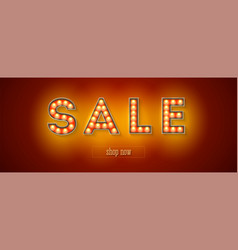 glowing letters sale and button shop now vintage vector image
