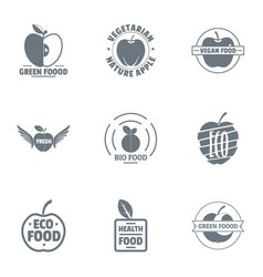 green food logo set simple style vector image