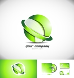 Green sphere ring 3d logo icon design vector image