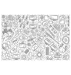 hand drawn hosting set doodle background vector image