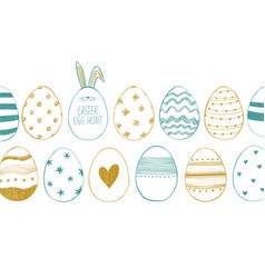 happy easter greeting card with chicken eggs vector image