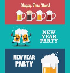 Happy new beer collection vector