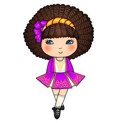 Irish dancing girl in violet traditional dress vector image