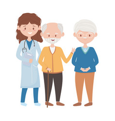 Isolated woman doctor with old men design vector