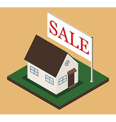 Isometric house with sale banner vector image