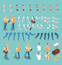 isometric male character constructor vector image