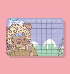 January calendar with bear cute animal vector