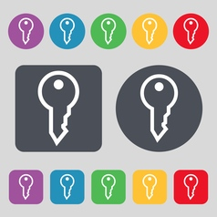 Key icon sign A set of 12 colored buttons Flat vector image